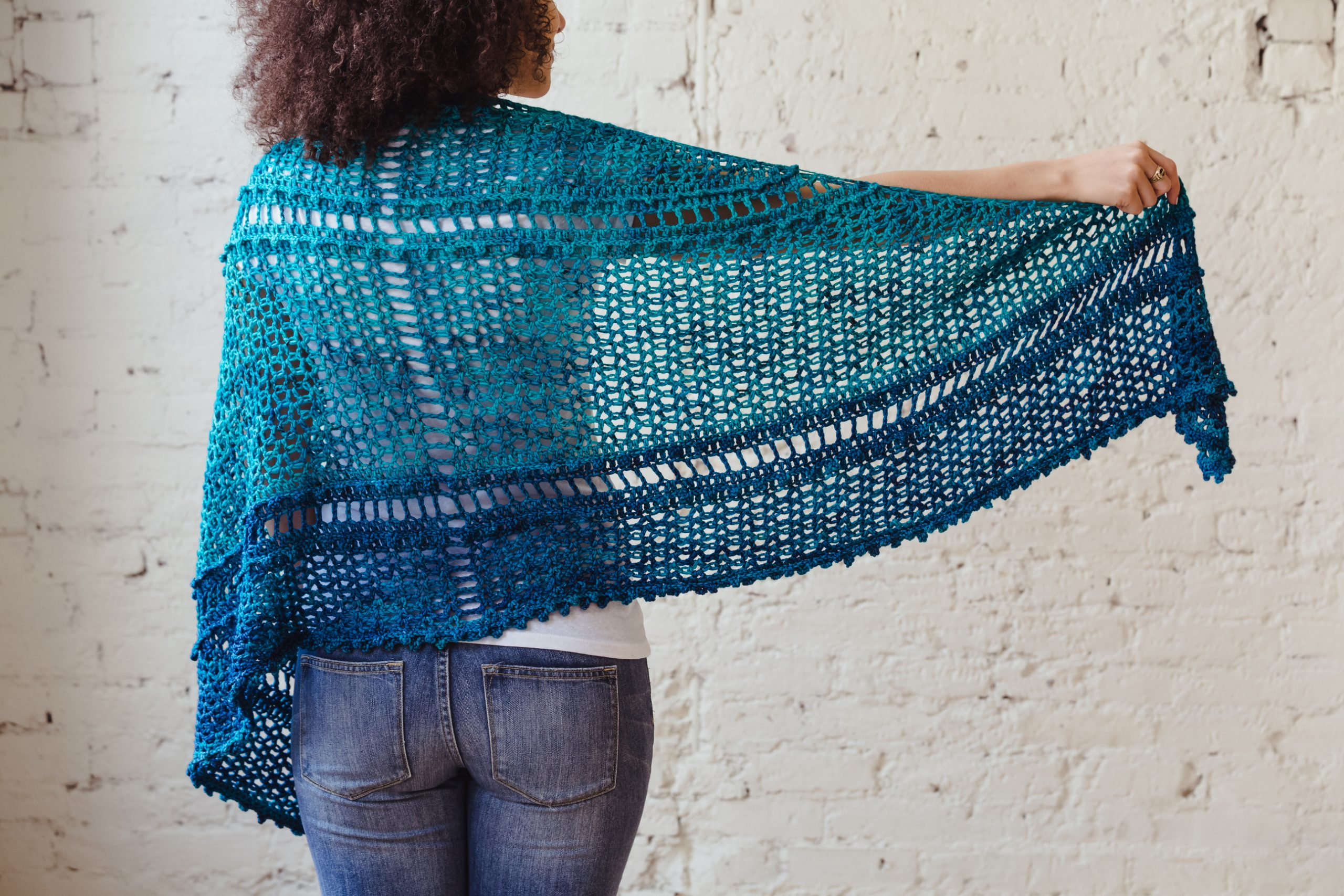 Serenity Shawl, a textured crescent crochet wrap pattern from TL Yarn Crafts