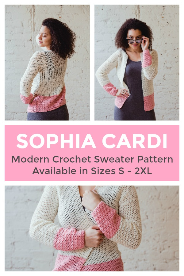 The perfect sweater for cool spring and summer nights, meet the Sophia Cardi! Take this sweater from the office to the bonfire, onto the plane when travelling, and to the movie theatre. An easy, beginner friendly crochet pattern, you'll love the Sophia Cardi from TL Yarn Crafts | TLYCBlog, TLYCBlog.com