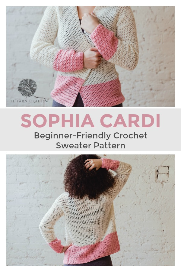 Make the easy, beginner friendly Sophia Cardi as the perfect layering piece in spring and summer. Featuring minimal shaping, bold color-blocking, and feminine lace stitching. | New pattern from TL Yarn Crafts