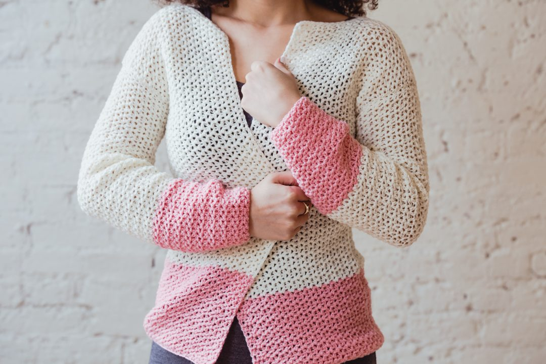 The Sophia Cardi, a lightweight beginner friendly crochet PDF pattern from TL Yarn Crafts