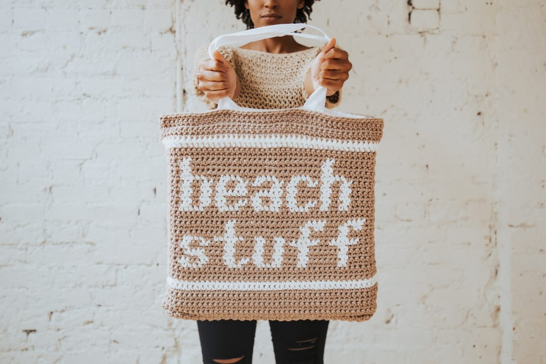 Tl Yarn Crafts The Beach Stuff Crochet Tote Bag A Canvas Lined