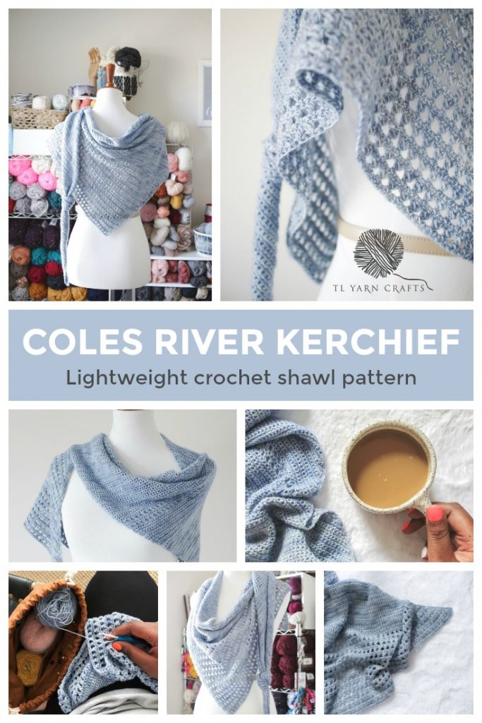 Make the Coles River Kerchief, a new crochet pattern from TL Yarn Crafts. This flowy lace wrap is crocheted with fingering weight yarn and is a perfect stash busting project. Beginner crocheters will appreciate the challenge and more advanced hookers can relax in a sea of medatative stitches. | Designed by Toni of TL Yarn Crafts. Find the pattern on Ravelry, Etsy, and TLYarnCrafts.com. #crochetshawlpattern #colesriverkerchief #tlyarncrafts