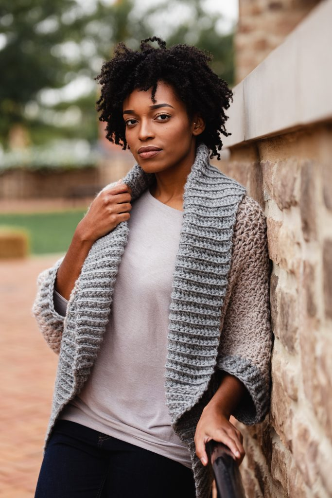 Make the Veronica Cocoon Cardi - a FREE crochet blanket sweater pattern from TL Yarn Crafts. Beginner friendly and addictive, the Veronica Cocoon will be your new favorite cardigan shrug pattern. | TL Yarn Crafts x JOANN