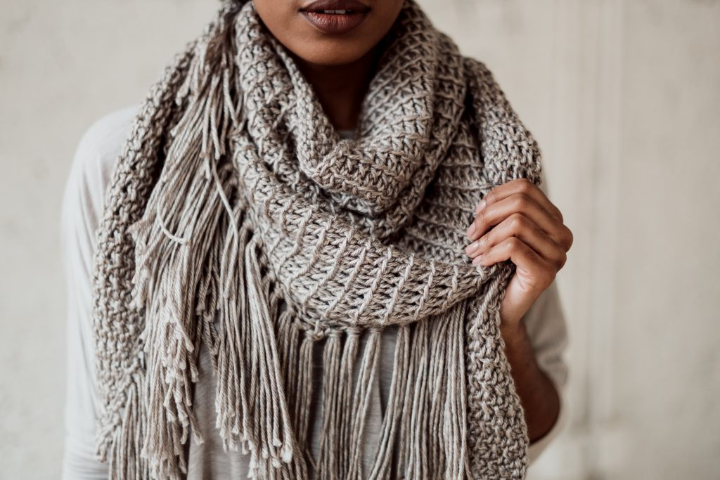 TL Yarn Crafts - The Daydream Shawl, a boho textured wrap with