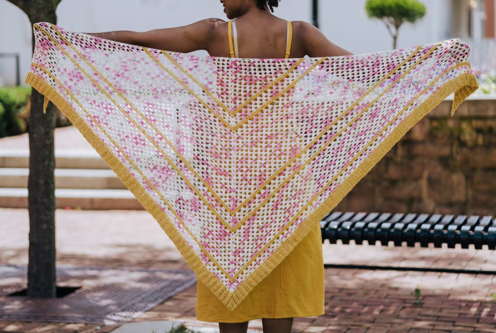 Garden Party Shawl - floral crochet triangle scarf pattern, available now