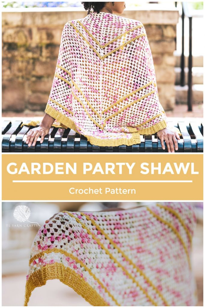 Make the Garden Party Shawl, a floral-inspired crochet triangle scarf. Crochet pattern available now! | TLYCBlog.com