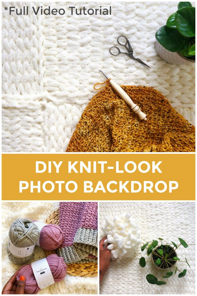 DIY Knit Look Photo Prop | No knitting skills required! Use loop yarn to make this fast and fun photo backdrop for your social media pictures. You can also use this backdrop as a newborn photo session prop or even a baby blanket. Have fun with the new Bernat Alize E-Z Wool, now available at JOANN. | TLYCBlog.com