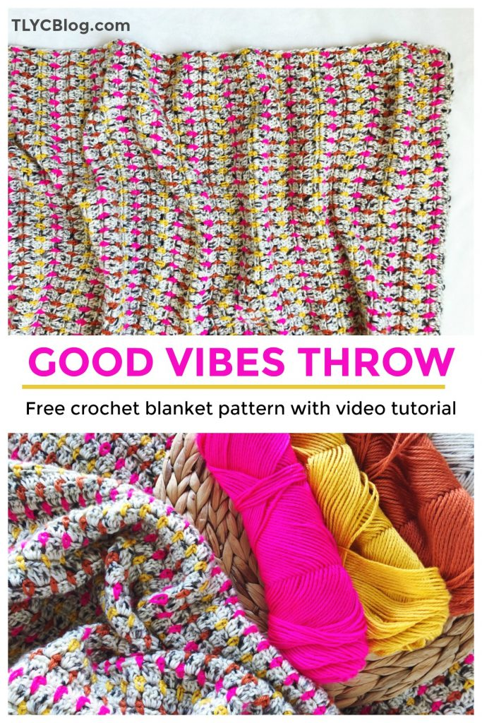 Good Vibes Throw, a FREE crochet pattern for a colorful, bold, and modern throw blanket. Free pattern includes a video tutorial and step-by-step instructions. Easy for beginner crocheters! #handmadewithjoann | TLYCBlog.com